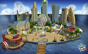 View of the island-based theme park environment from Hasbro Family Game Night 3