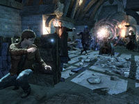 Harry using in-game cover in a fight against multiple enemies in Harry Potter and the Deathly Hallows - Part 2
