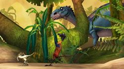 Avoiding hungry dinos in 'Ice Age: Dawn of the Dinosaurs' the Video Game