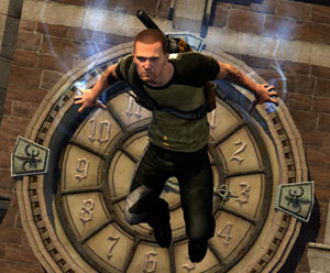 Cole using his climbing abilities to easily cling to the side of a clock face in inFAMOUS 2