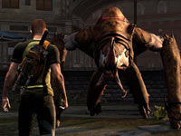 Cole facing down a boss in inFAMOUS 2