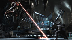 Superman battling Batman in the batcave in Injustice: Gods Among Us
