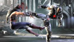 Cyborg landing a heavy kick on Wonder Woman in Injustice: Gods Among Us