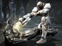 Cyborg getting the best of Batman in Injustice: Gods Among Us