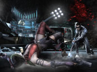 Nightwing knocking Harley Quinn down in Injustice: Gods Among Us
