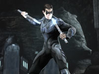 Nightwing wielding his electrified fighting sticks in Injustice: Gods Among Us