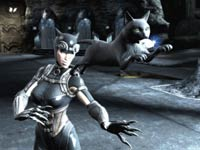 Catwoman and a feline companion in Injustice: Gods Among Us
