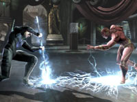 Nightwing using the combination of the electrical charge of his suit and his fighting sticks to stop The Flash in Injustice: Gods Among Us