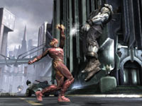 The Flash nailing Soloman Grundy with an uppercut in Injustice: Gods Among Us