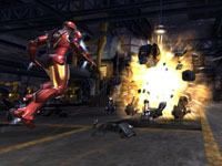 Iron Man decimating a robotic enemy in Iron Man 2