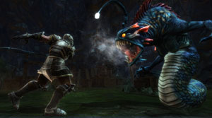 Combat against a terrifying hybrid creture in Kingdoms of Amalur: Reckoning