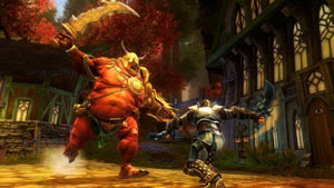 Combat against a huge charging boss in Kingdoms of Amalur: Reckoning