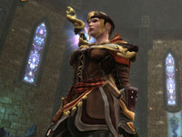 A female hero character standing alone in Kingdoms of Amalur: Reckoning