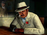 Detective Cole Phelps interrogating a suspect downtown in L.A. Noire