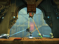 Sackboy using the grappling hook in LittleBigPlanet 2