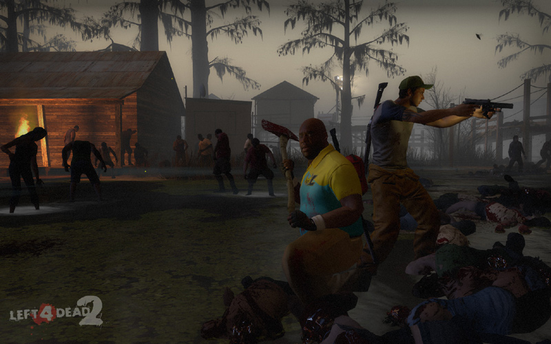 Survivors using a mix of melee and firearms against zombies in Left 4