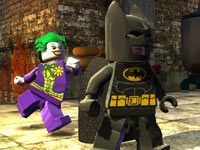 The Joker sprinting up behind Batman in Lego Batman 2: DC Super Heroes