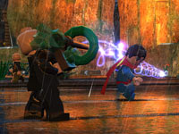 Superman being hurt by a Kryptonite raygun in Batman in Lego Batman 2: DC Super Heroes