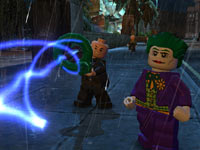 The Joker and one of his flunkies firing a Kryptonite raygun in your direction in Batman in Lego Batman 2: DC Super Heroes