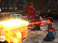 Superman using his heat vision in Lego Batman 2: DC Super Heroes