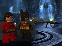 Batman and Robin in the Batcave in Lego Batman 2: DC Super Heroes