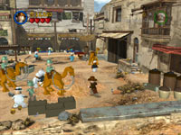 Raiders of the Lost Ark inspired scene of an Egyptian marketplace in LEGO Indiana Jones 2: The Adventure Continues