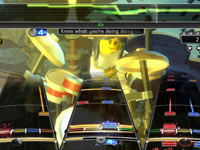 Multiplayer action centered on the drummer in LEGO Rock Band