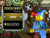 LEGO themed avatar customization at the Rock Shop in LEGO Rock Band