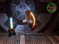 Using a lightsaber to cut holes in a blast door in LEGO Star Wars III: The Clone Wars