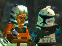 Jedi Master Shaak Ti with a clone in LEGO Star Wars III: The Clone Wars