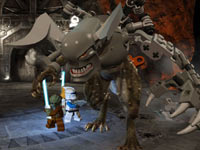 Clone and Jedi with a huge creature in LEGO Star Wars III: The Clone Wars