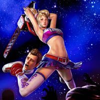 Juliet Starling on the attack with boyfriend Nick, literally in-tow, in Lollipop Chainsaw
