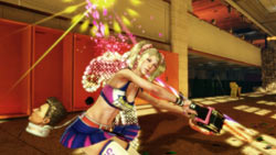 Juliet Starling ending a zombie in a surprisingly colorful flourish in Lollipop Chainsaw