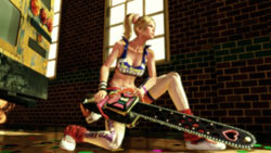 Juliet Starling with an extra long chain saw blade in Lollipop Chainsaw