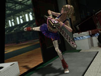 Juliet using her cheer skills to kick down a door in Lollipop Chainsaw