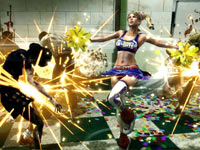 Juliet using her cheer skills as a light attack in Lollipop Chainsaw