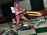 An upgraded outfit and chainsaw on Juliet in Lollipop Chainsaw