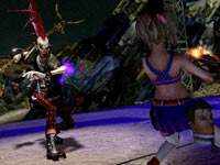 Juliet Starling engaging the boss, Zed, in Lollipop Chainsaw