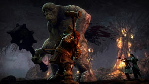 The Dunedain ranger Eradan, Andriel the Elf and Farin the Dwarf battling a troll in Lord of the Rings: War in the North