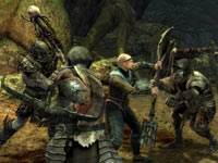 Surrounded by orcs during forest combat in Lord of the Rings: War in the North