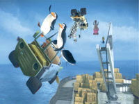 The penguins take their kart to the air in Madagascar Kartz for PS3