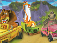 Some of the main characters in their karts in Madagascar Kartz for PS3