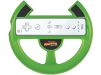 The branded Wii Remote steering wheel accessory included with the Madagascar Kartz wheel bundle for Wii