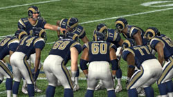 Ram's Team huddle before the snap in 'Madden NFL 10'
