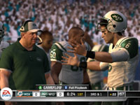 QB hashing it out with the coach on the sidelines in Madden NFL 11