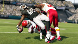 A painful high-low gang tackle in Madden NFL 13