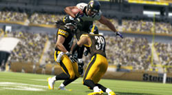 Coming down to meet a rough hit after catching a pass in Madden NFL 13