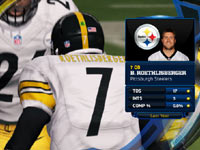 TV style presentation of stats superimposed on a huddle in Madden NFL 13