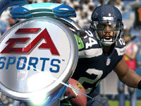 TV style superimposed EA logo over a player in Madden NFL 13