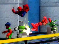Reptil and Spider-man working together in Marvel Super Hero Squad: The Infinity Gauntlet